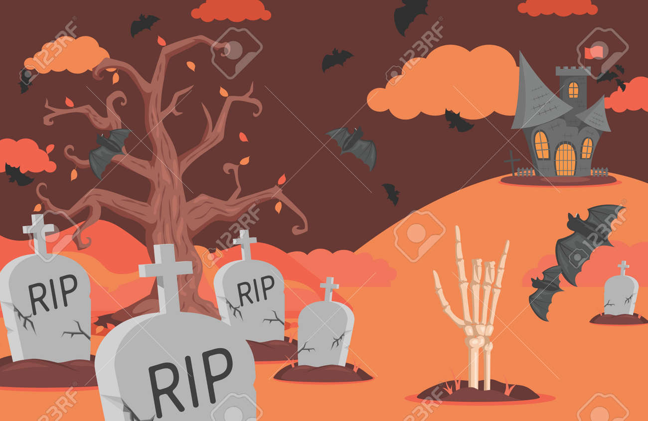 Halloween banner with gravestones, bats, scary castle, clouds, and skeleton hand vector flat cartoon illustration. - 173869159