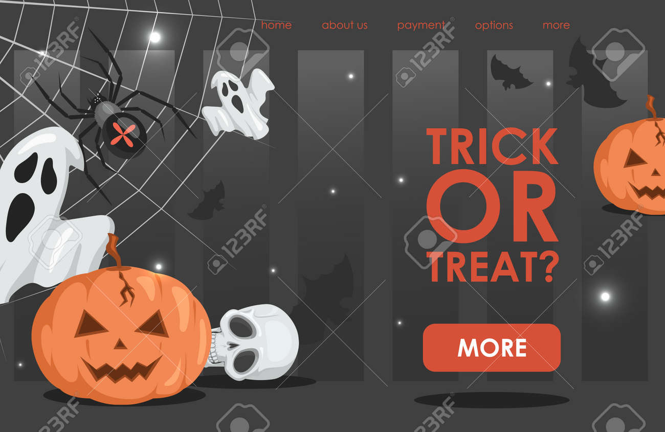 Trick or treat vector flat cartoon landing page template with text. Halloween event banner design. - 173846557
