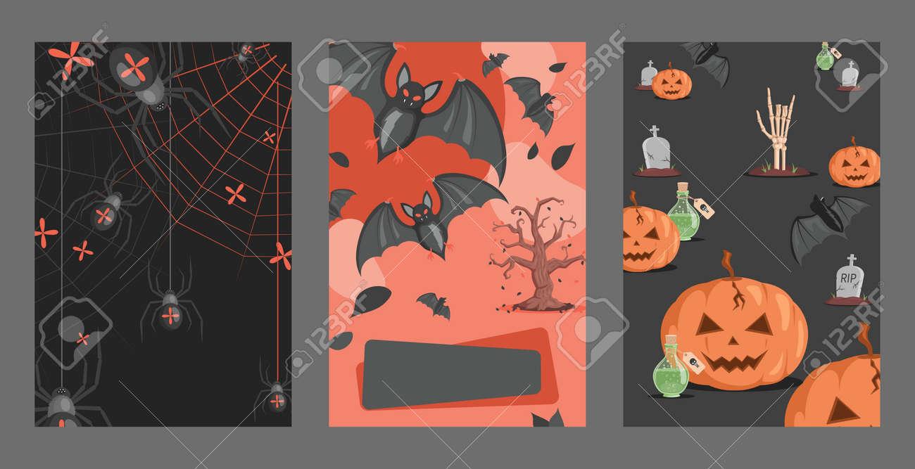 Halloween invitation cards design. Spiders on webs, bats, poisons, graves, pumpkins vector flat cartoon illustration. - 173846497
