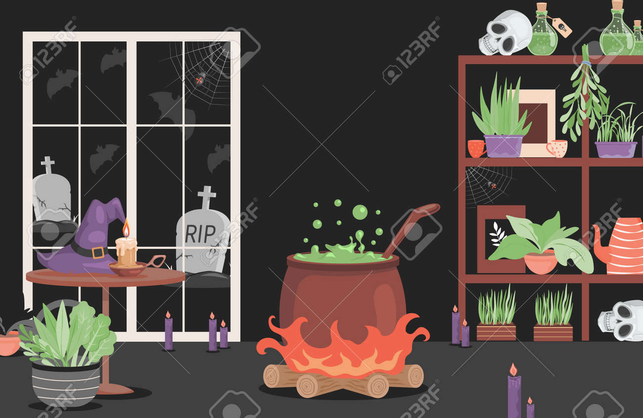 Interior of the house of evil witch vector flat cartoon illustration. Scary interior for Halloween party card design. - 173846583