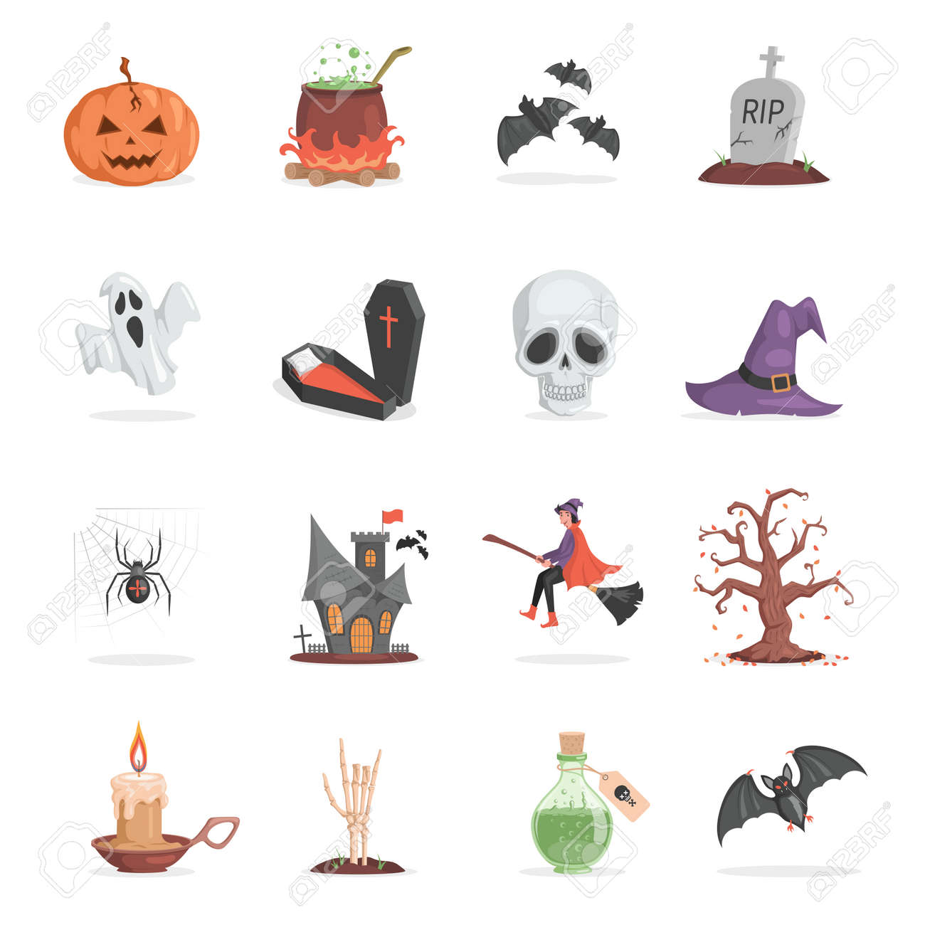 Set of Halloween party items. Scary and ugly pumpkin, pot with poison, bats, gravestone vector flat cartoon illustration. - 173869161