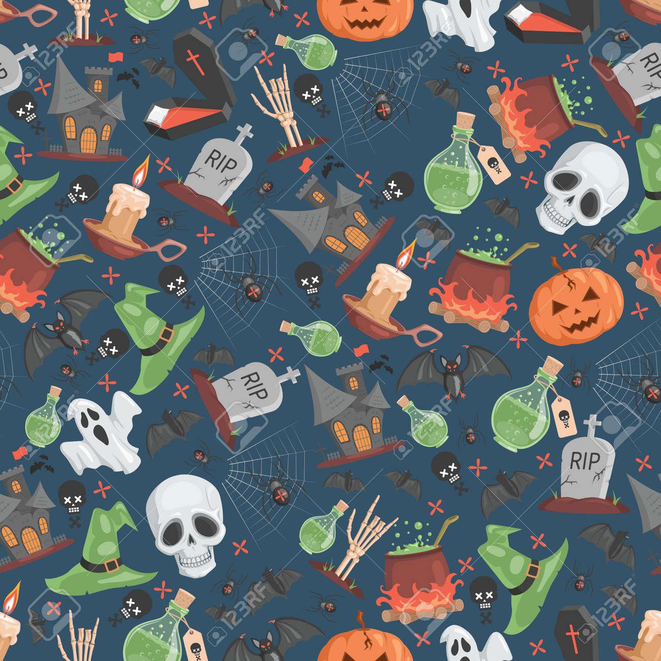Halloween seamless pattern. Trick or treat Halloween party vector flat cartoon backdrop. - 173869185