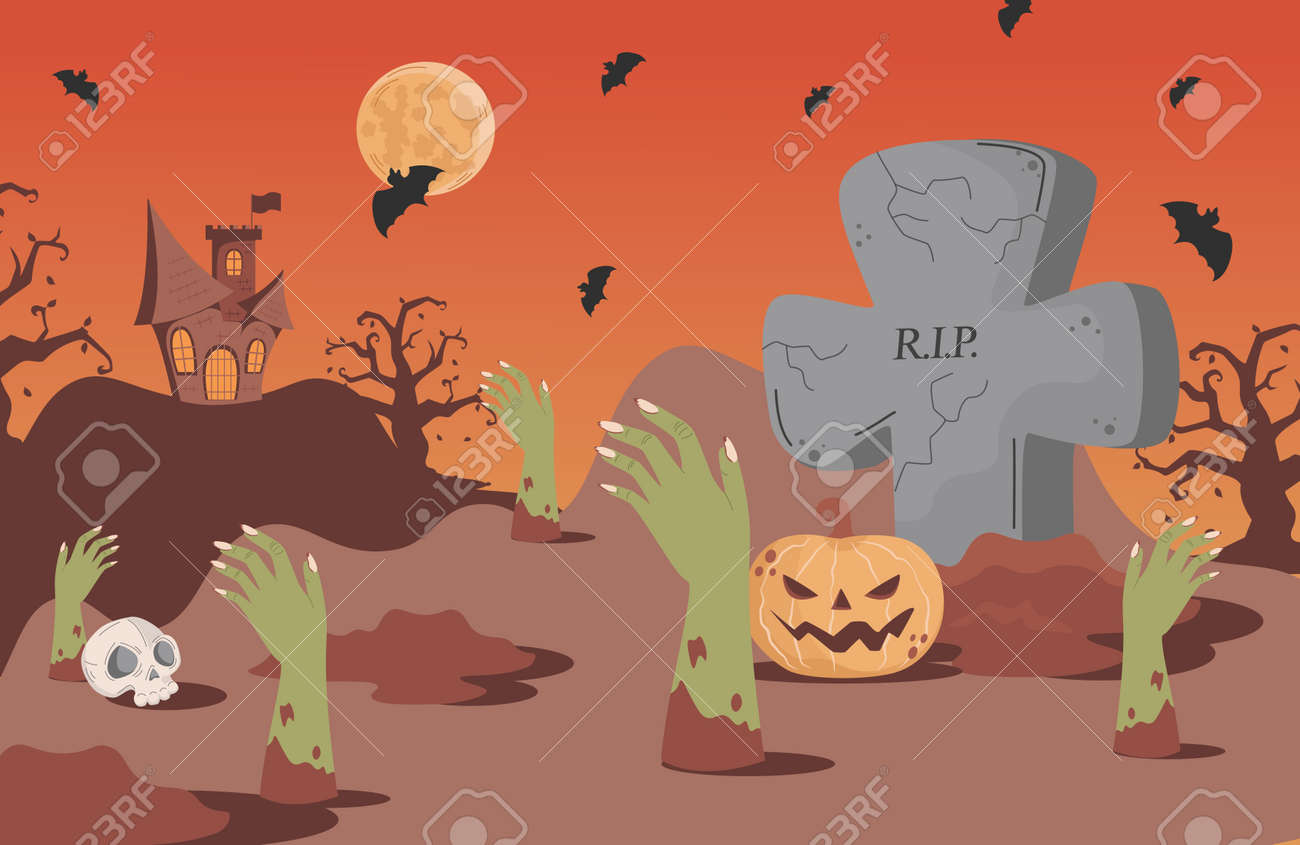 Halloween banner background with gravestones, bats, scary castle, and skeleton hand vector flat cartoon illustration. - 173869190