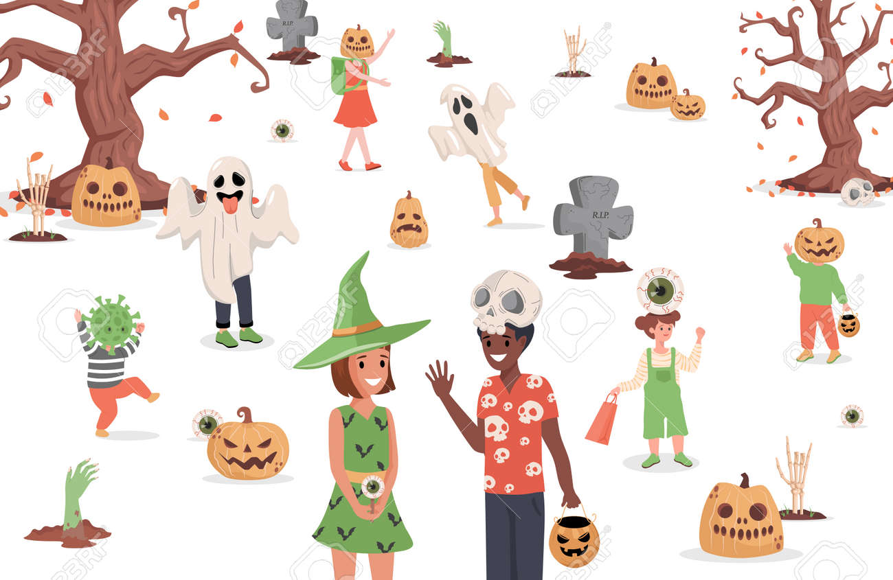 Children wearing monster costumes walking in the city vector flat illustration. Trick or treat Halloween party. - 173869199