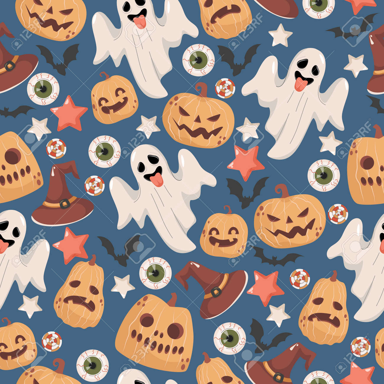 Halloween seamless pattern. Scary ghosts, witch hats, stars, bats, candies, human eyes, and pumpkins. - 173869203