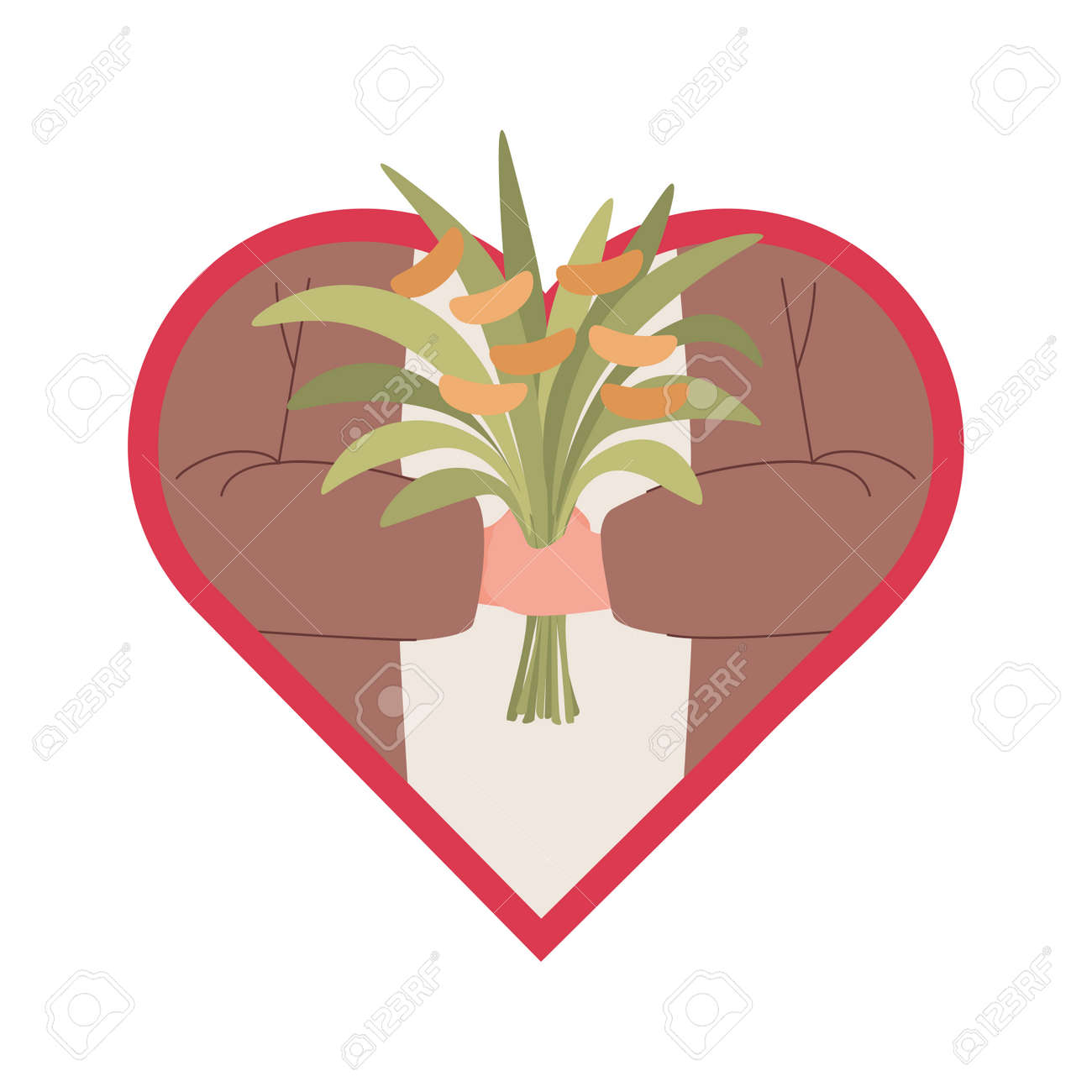 Hands of man holding bouquet of flowers vector flat illustration in the heart frame. - 173920368