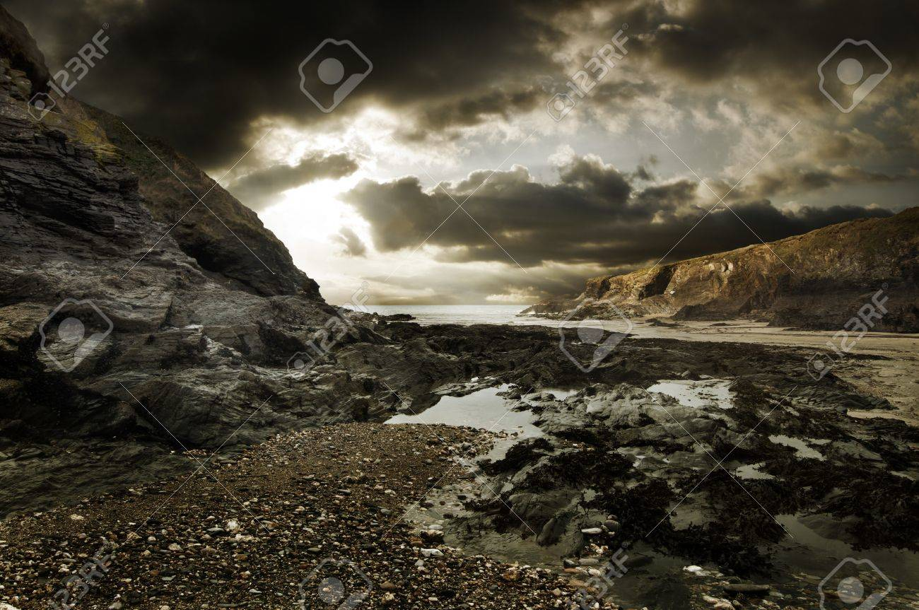 Dramatic coastline landscape of Port Isaac in Cornwall Stock Photo - 9019899