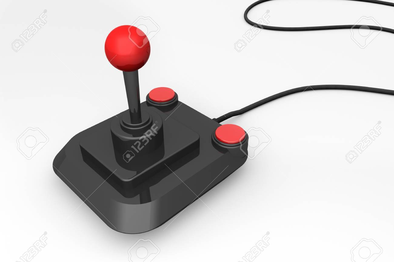 3d render of a retro joystick in black and red Stock Photo - 13200339