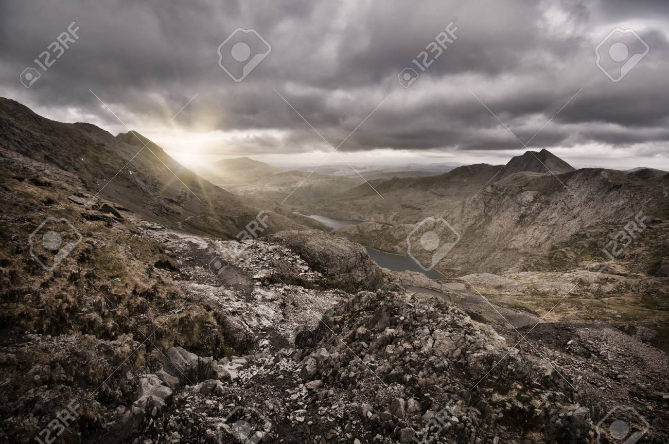 The sun rises over the mountain at Snowdon in Wales Stock Photo - 16260920