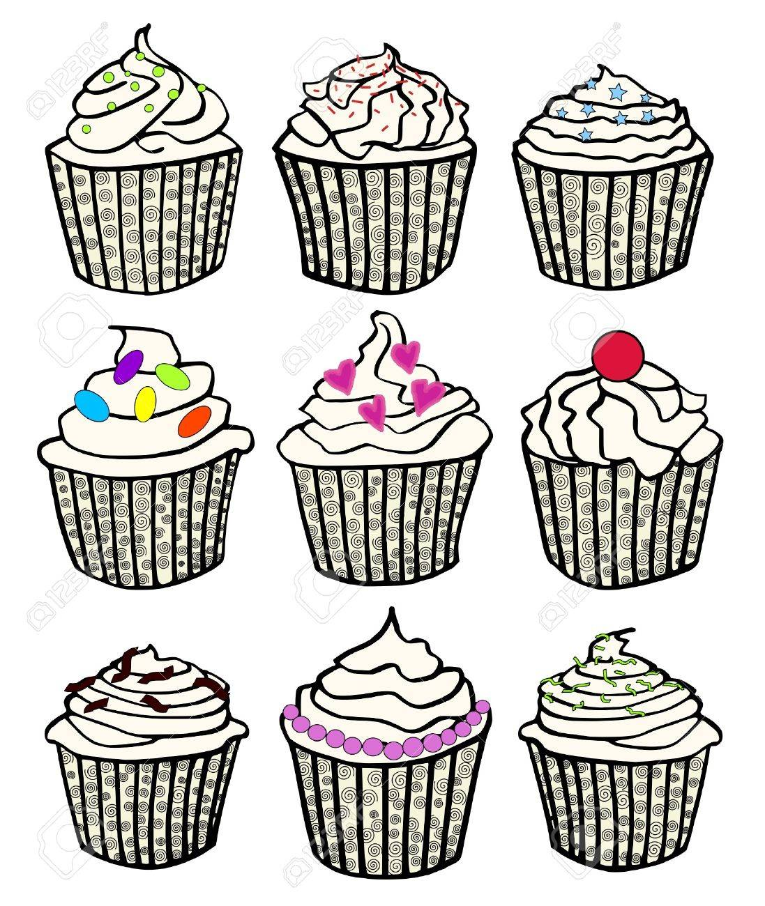Nine Cupcakes In Fancy Cupcake Liners Royalty Free Cliparts Vectors
