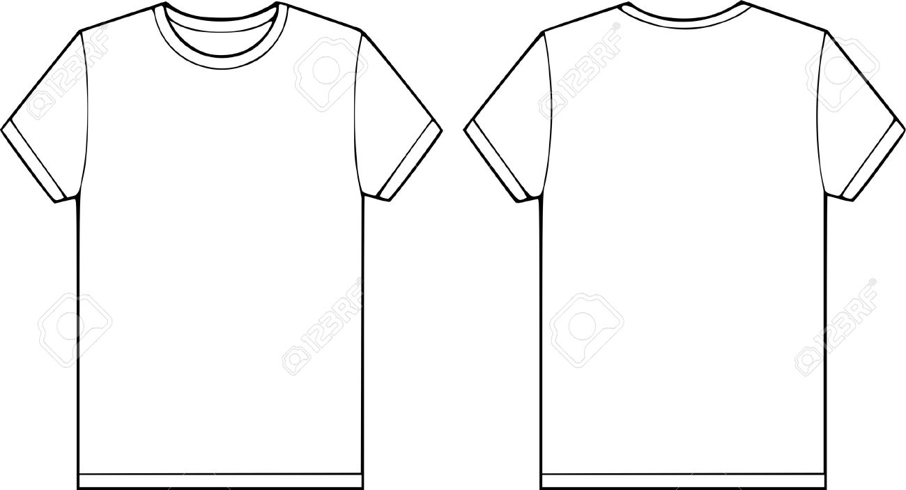 Back And Front Side Of A Blank T-shirt Vector Illustration Stock ...