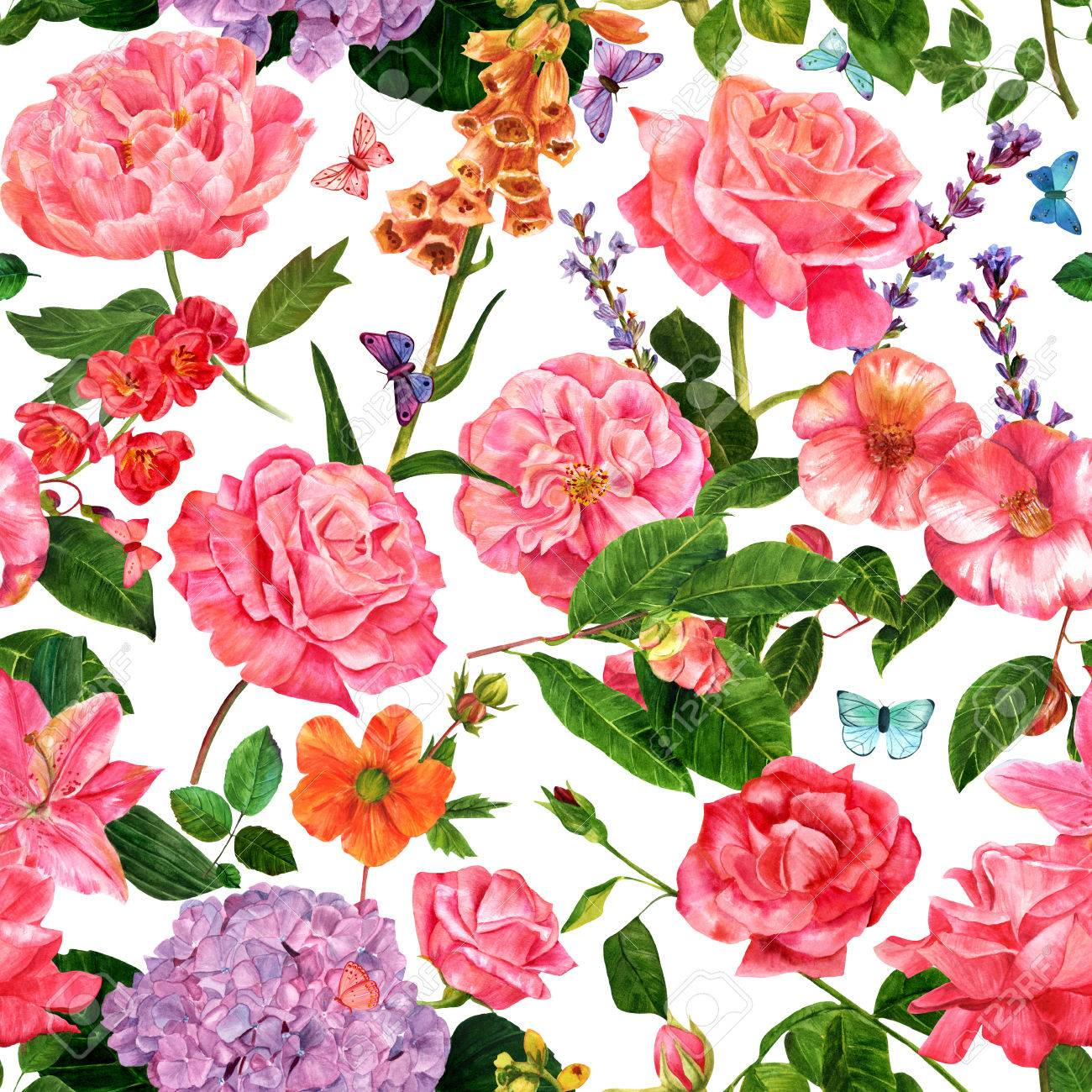 A vintage style seamless botanical pattern with hand drawn watercolor flowers - roses, camellias, and others - and butterflies, on white background - 63699782