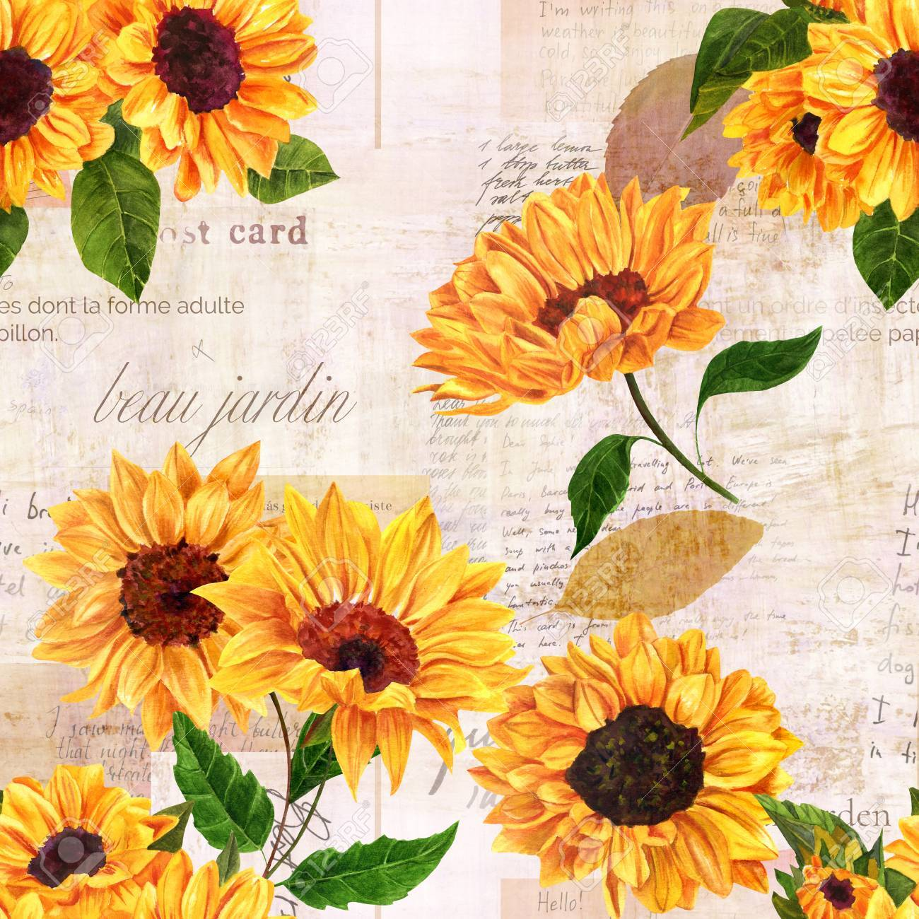 Yellow Flower 6x8 FT Backdrop Photographers,Watercolor Style Sunflowers Pattern with Faded Blossoms Botany Bouquet Background for Baby Birthday Party Wedding Vinyl Studio Props Photography