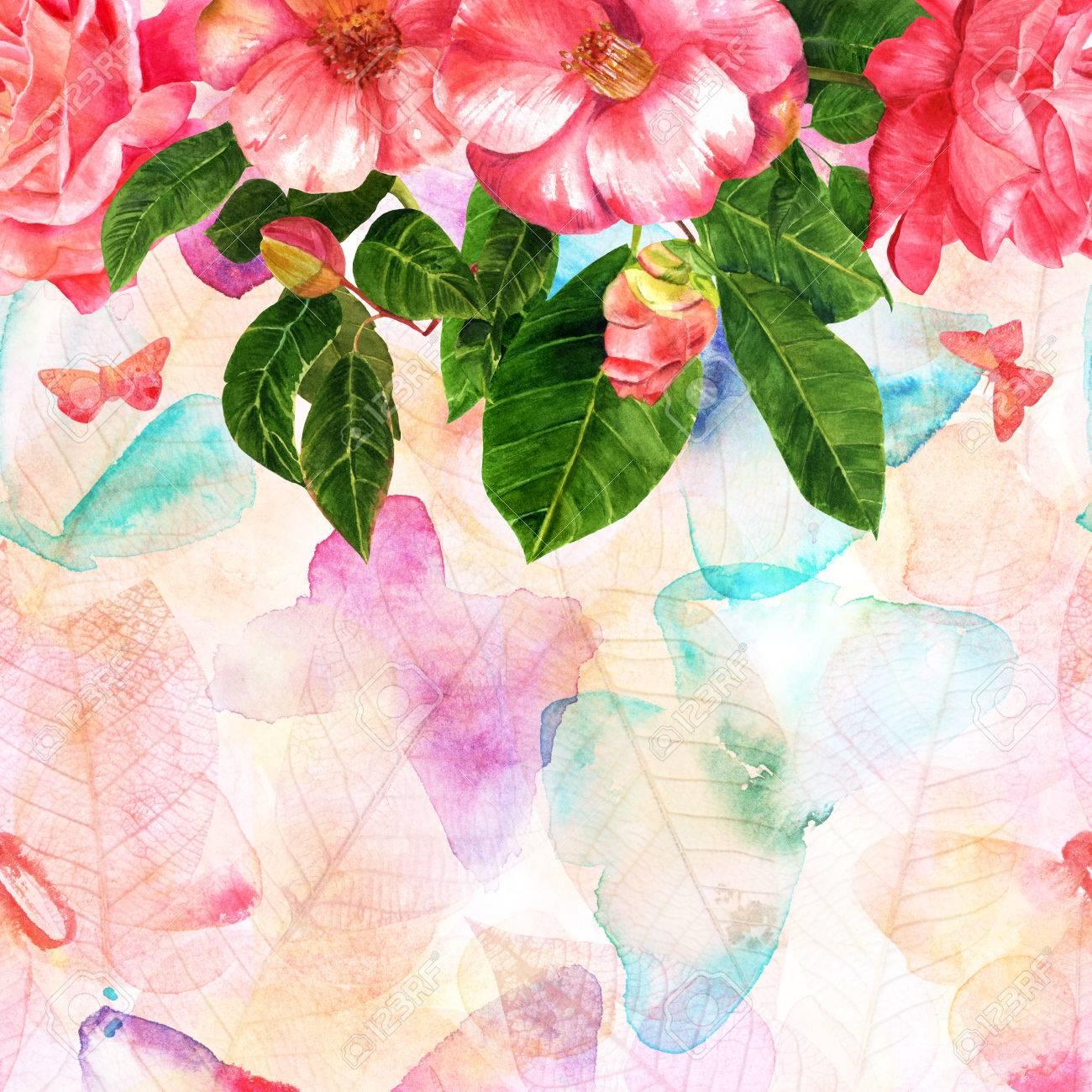 柔らかいピンクのバラ椿フリーハンド蝶やスケルトンの葉でパステルの