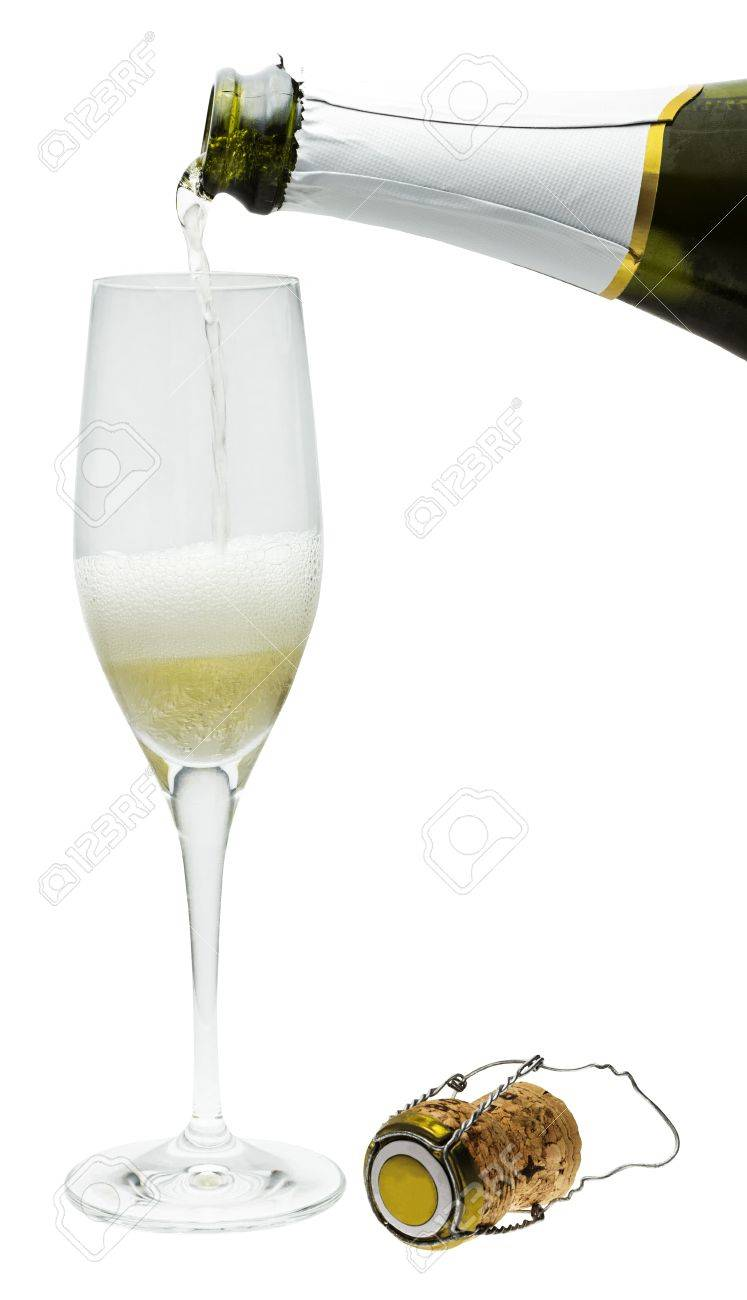 A photo of sparkling wine, poured into a flute glass from a bottle, with a cork, isolated on white - 66912718