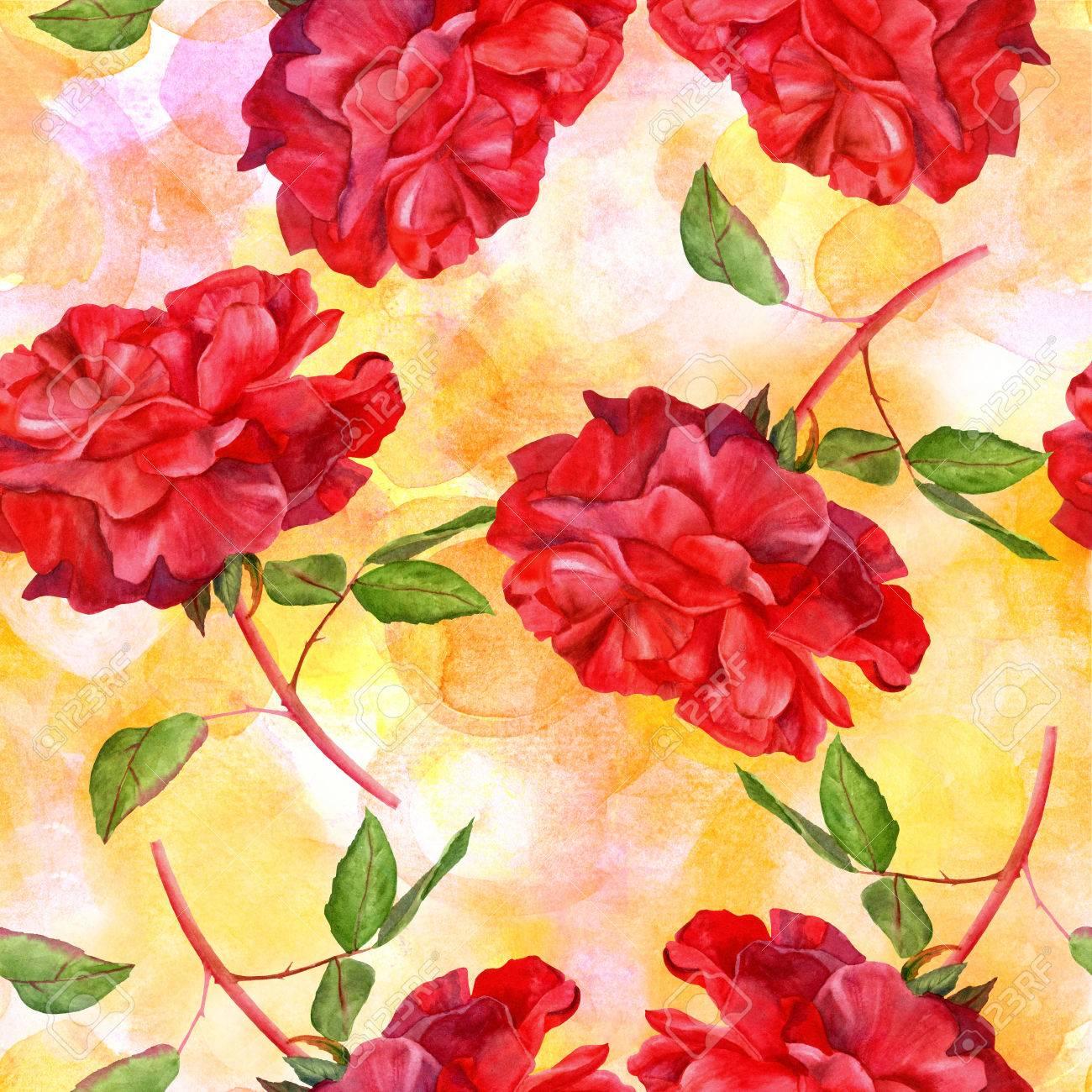 Un Modele Sans Couture Avec Un Dessin Aquarelle D Une Rose Rouge En