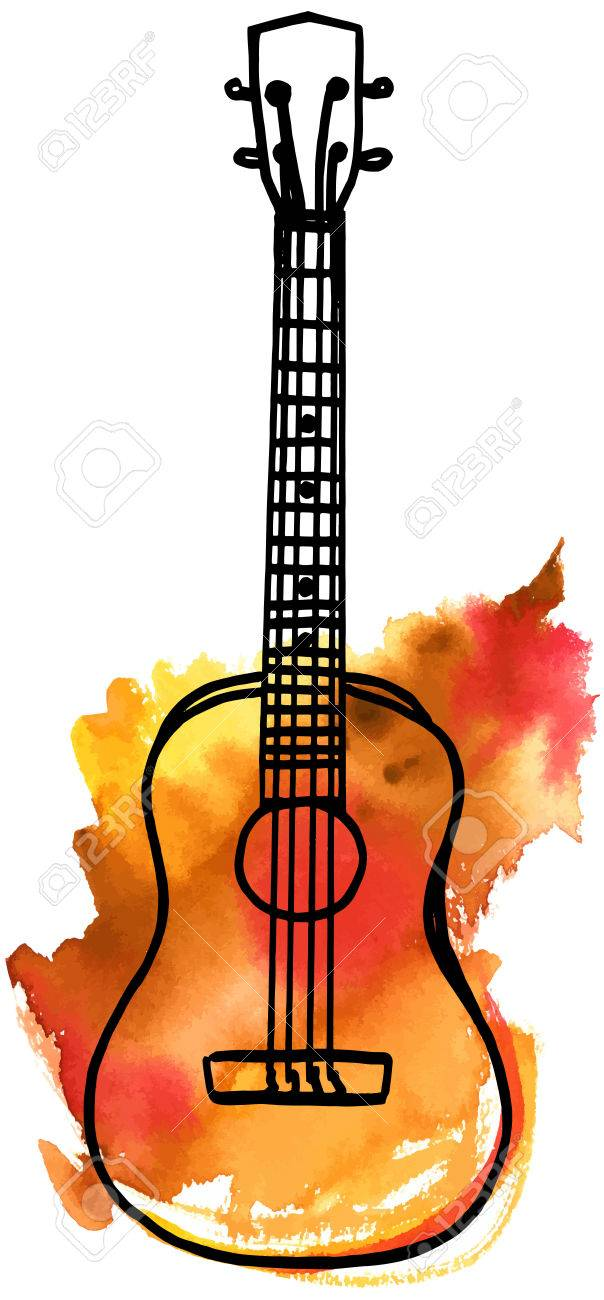 A vector and watercolor freehand drawing of a golden ukulele on white background - 68894677