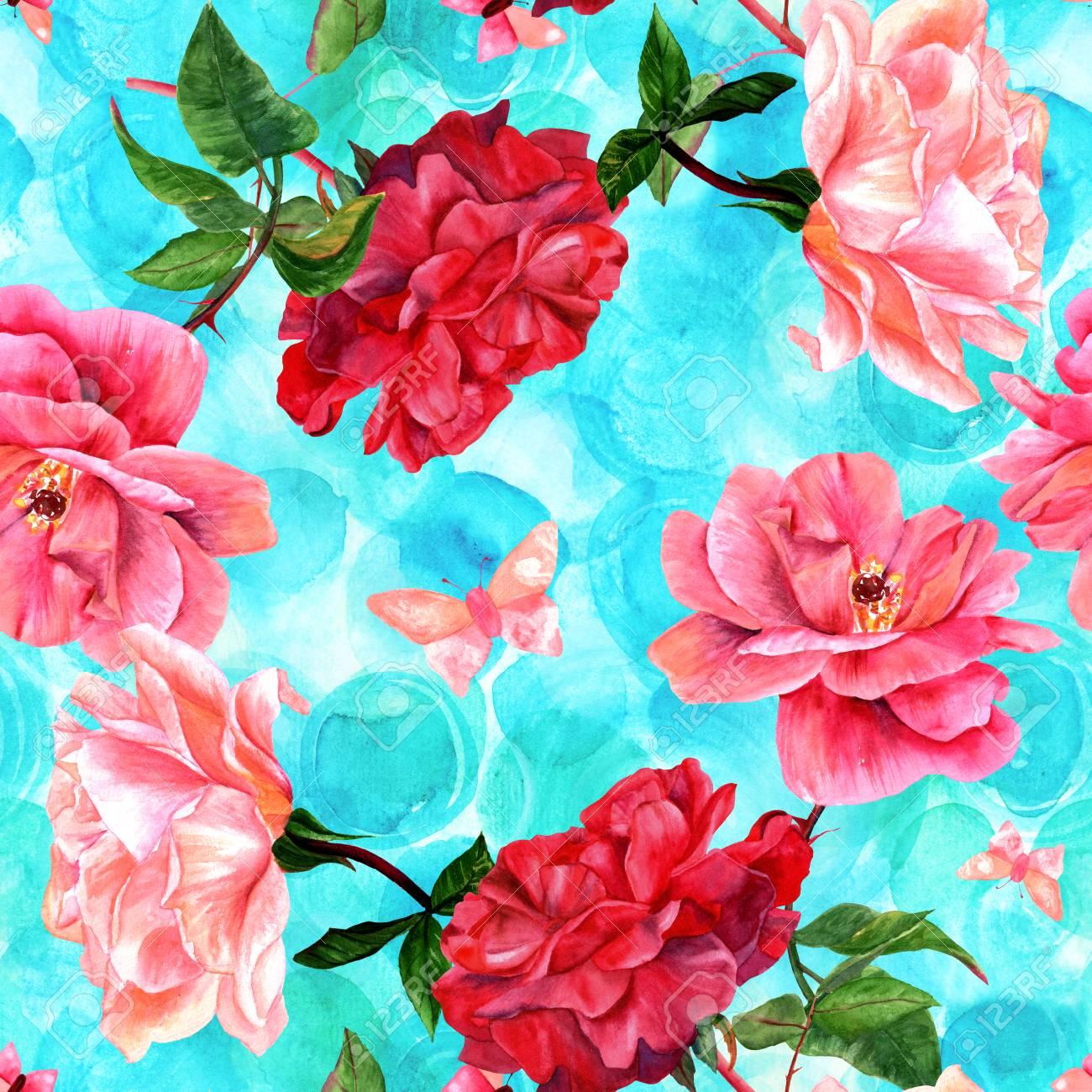 Un Patron Sin Fisuras Con Dibujos En Acuarela De Rosas Rojas Y Rosas Florecientes Y Mariposas Pintado A Mano Sobre Un Fondo Azul Turquesa En El