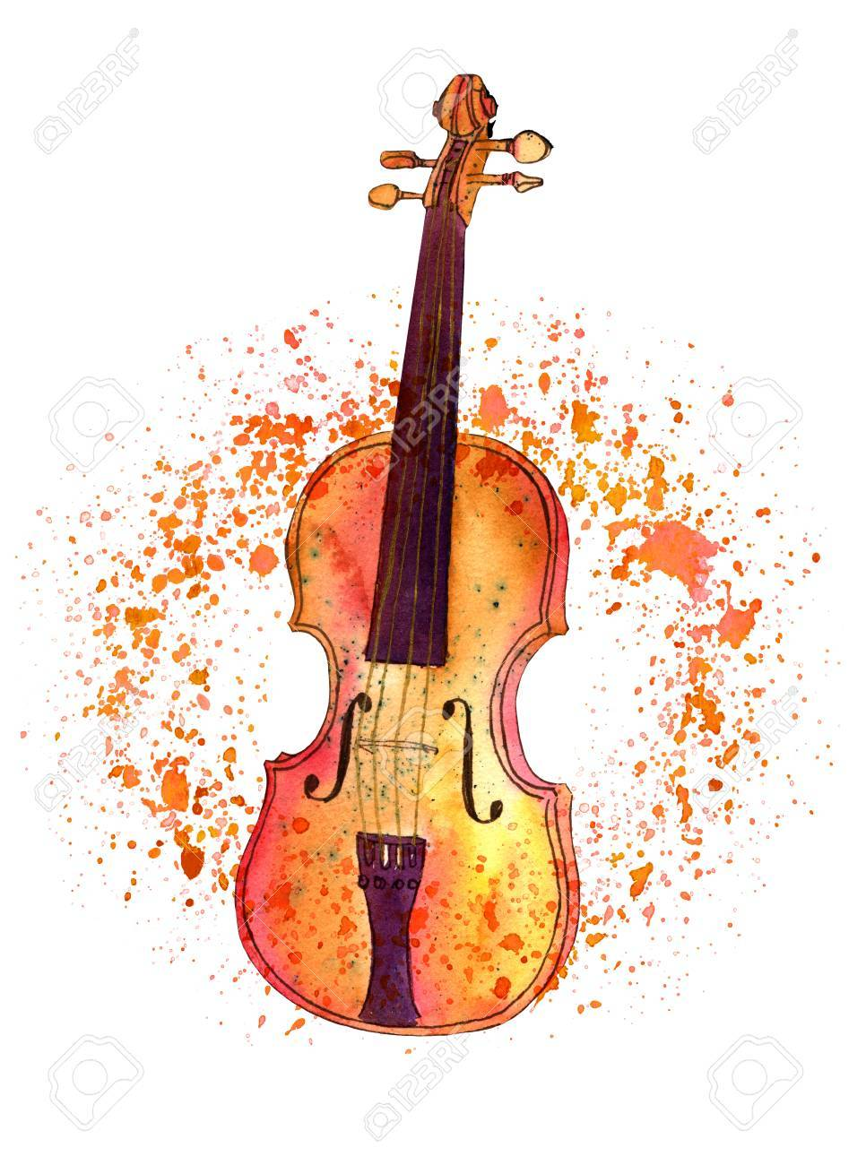 Watercolour Drawing Of Violin With Paint Splashes And Copyspace