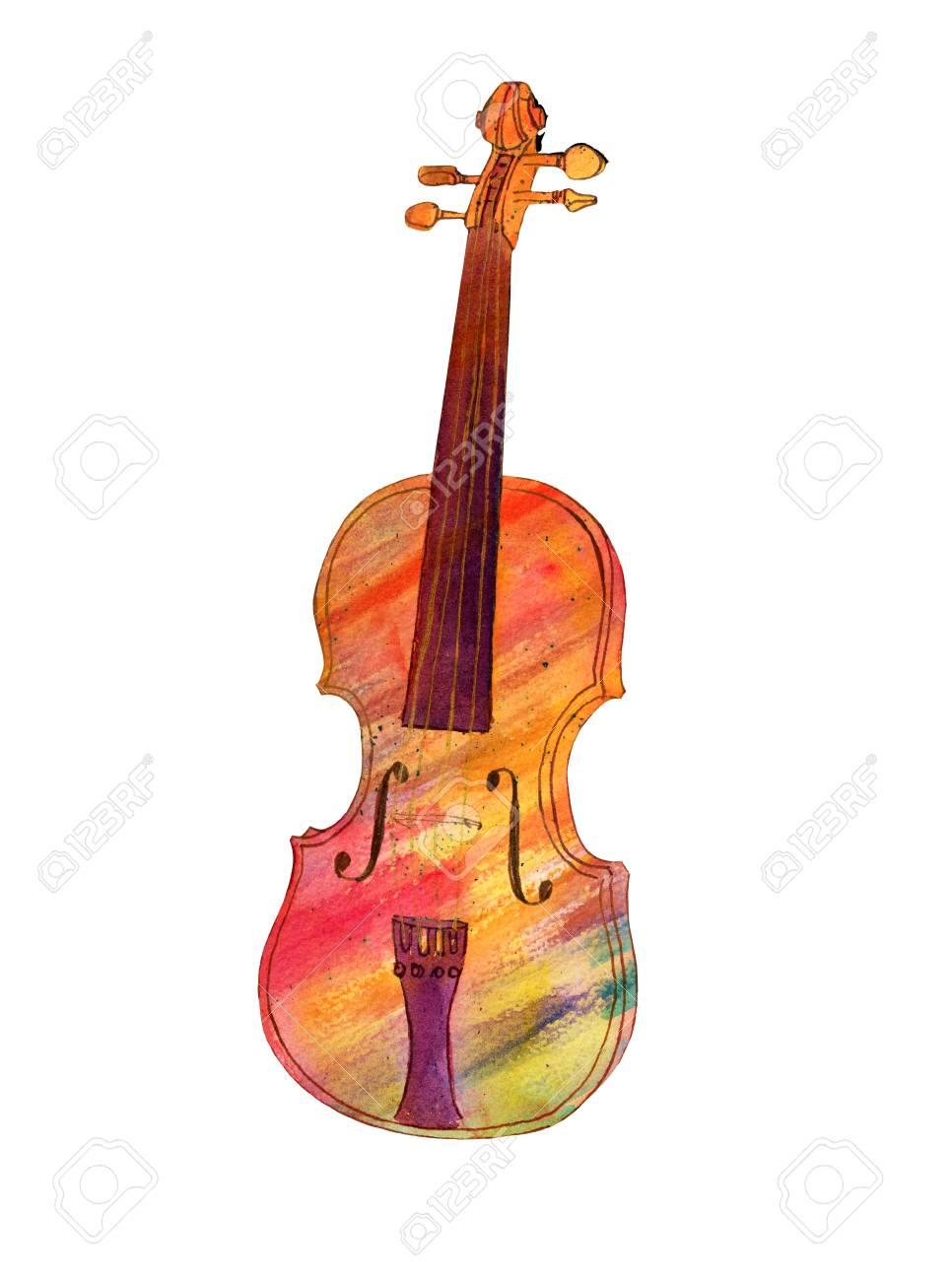 Dessin De Violon aquarelle et dessin à l'encre de violon coloré, isolé banque d
