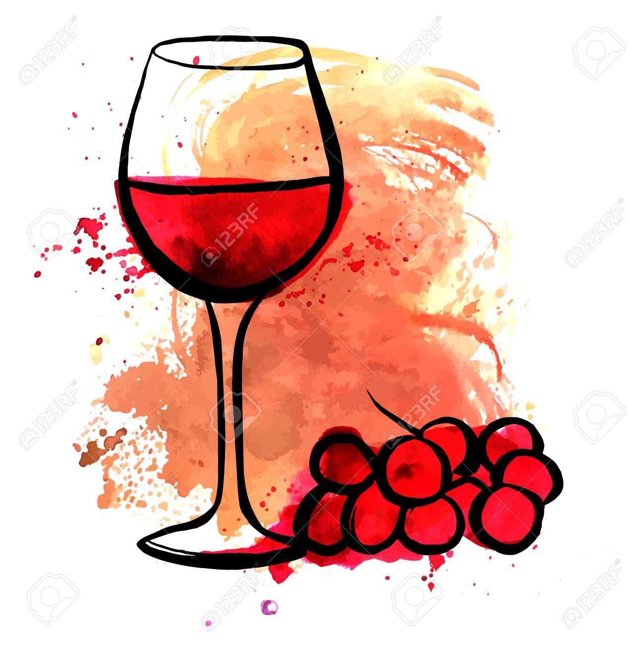 Dessin de verre à vin rouge sur la texture aquarelle