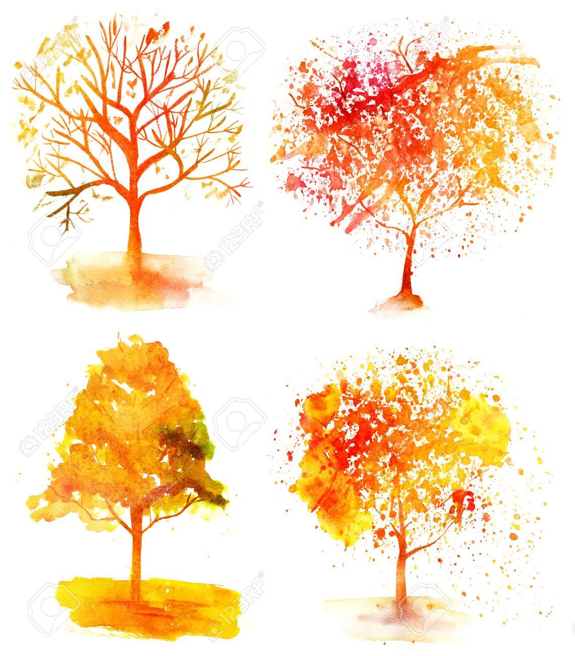 Conjunto De árboles De Otoño Acuarela Vibrante Sobre Fondo Blanco