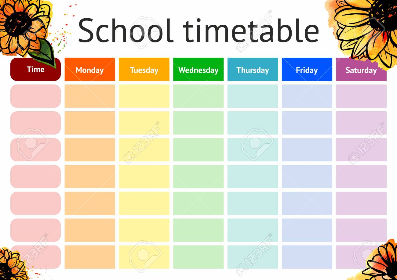 vector school timetable weekly curriculum design template royalty
