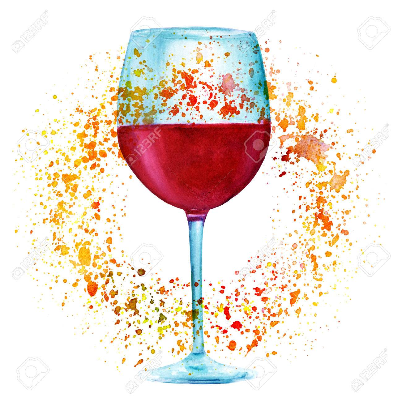 Autumn wine, watercolor drawing with golden paint splashes - 81849675