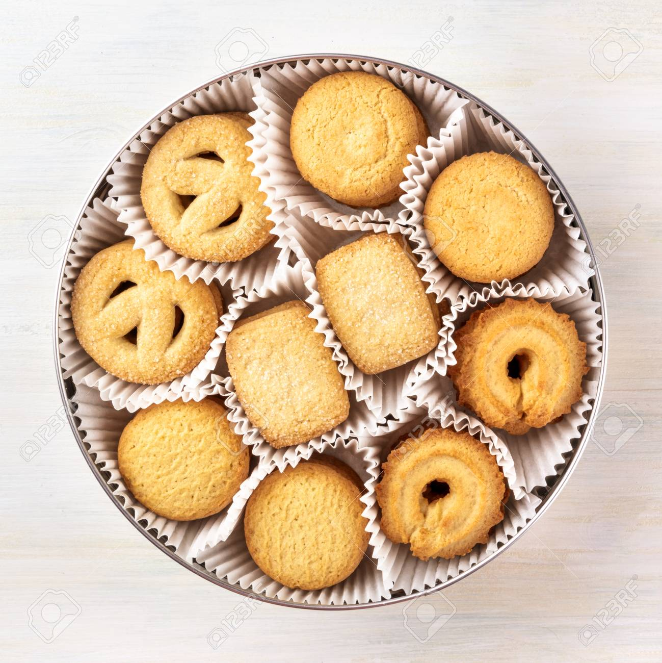 Overhead Photo Of Danish Butter Cookies In A Tin Stock Photo ...