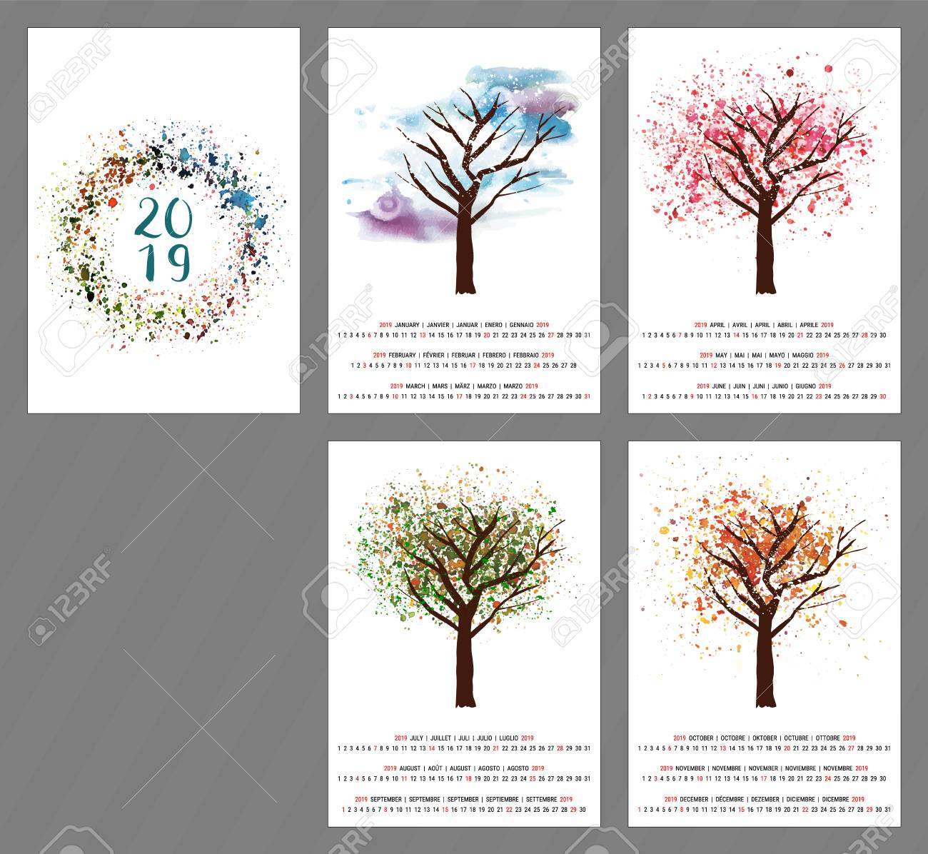Calendario Julio 2019 Vector.Vector Calendar For Year 2019 With Watercolor Tree And Copy Space