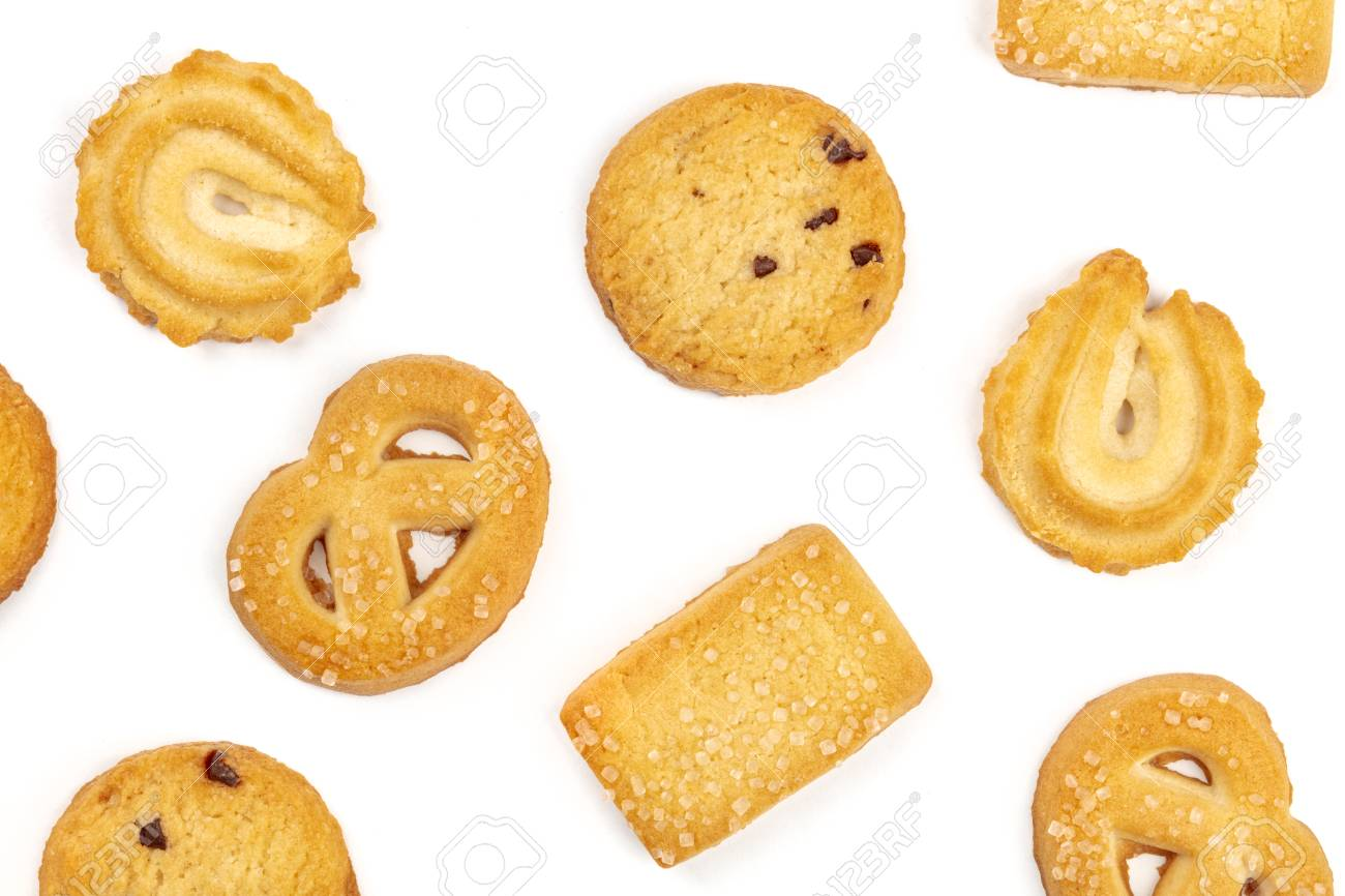 An overhead photo of Danish butter cookies on a white background - 111559667