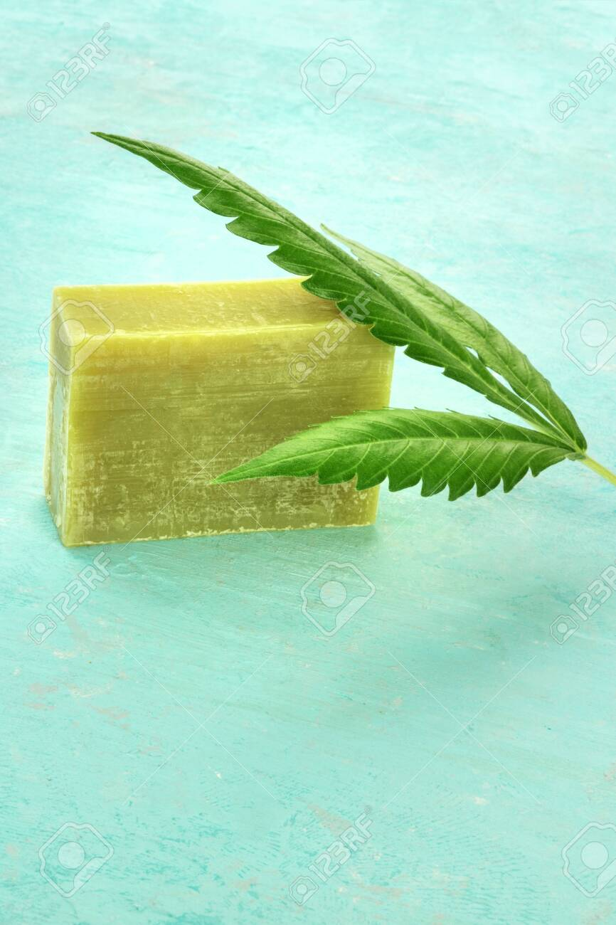 Homemade Hemp Soap Bar With A Cannabis Leaf On A Teal Blue Backgrround Stock Photo Picture And Royalty Free Image Image 132023745