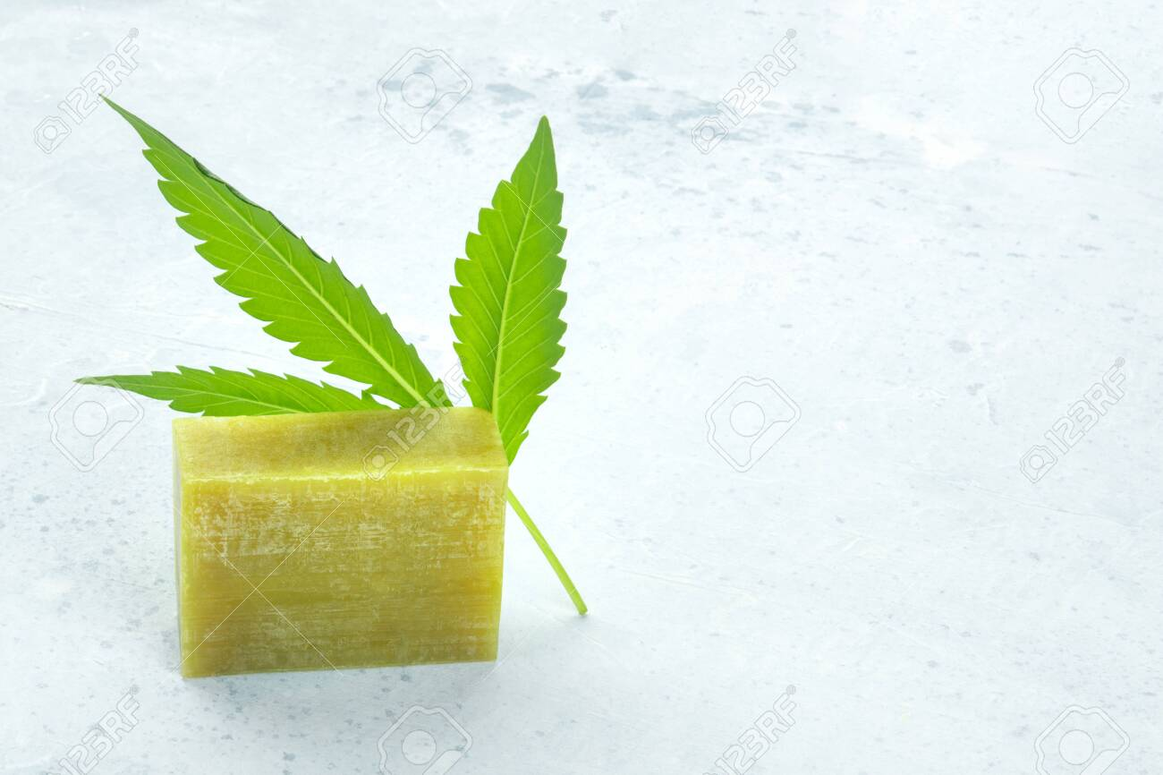 Hemp Soap Bar With A Cannabis Leaf And Copyspace Stock Photo Picture And Royalty Free Image Image 139566008