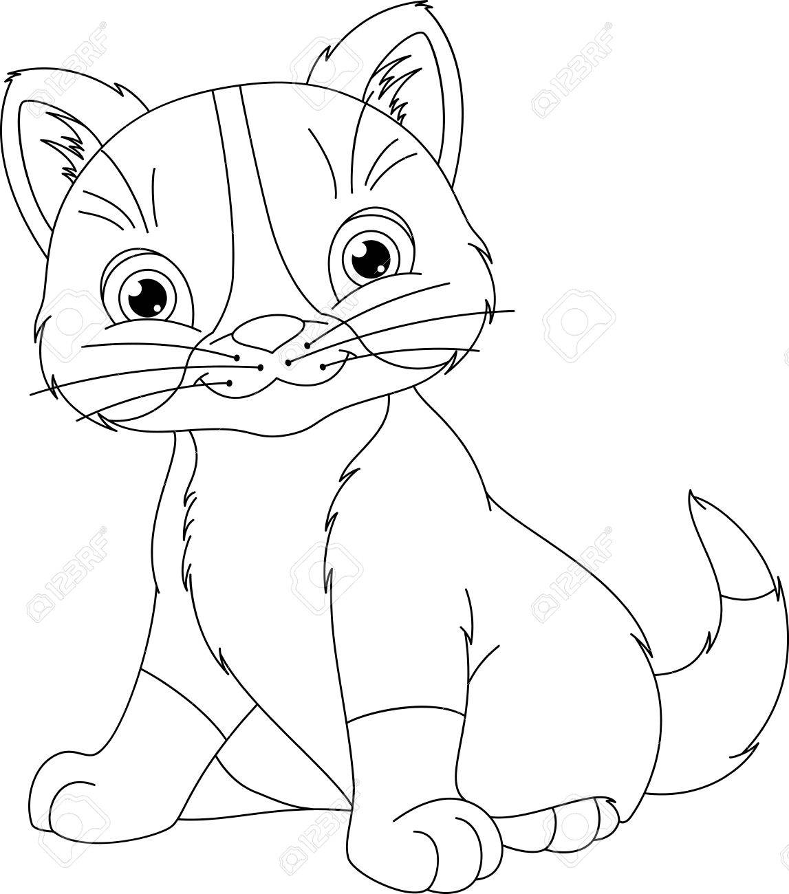 Kitten Coloring Page Royalty Free Cliparts Vectors And Stock