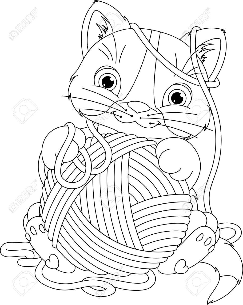 Kitten With Yarn Ball Coloring Page Royalty Free Cliparts, Vectors ...