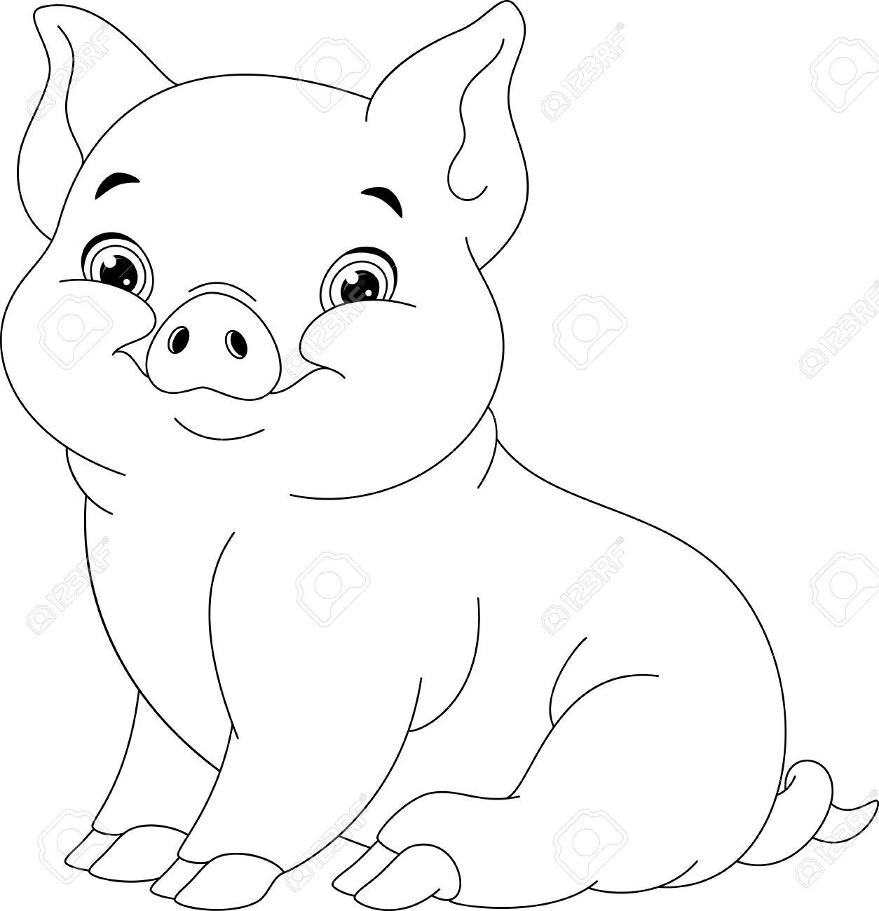 Schwein Färbung Seite Lizenzfrei Nutzbare Vektorgrafiken, Clip Arts ...