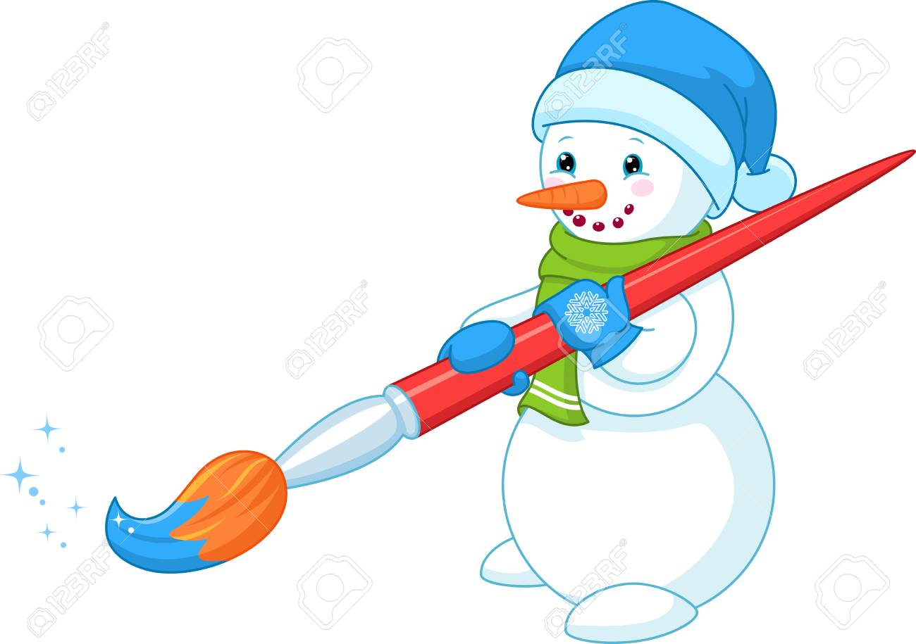 Snowman Painting Brush Royalty Free Cliparts Vectors And Stock Illustration Image 68888424
