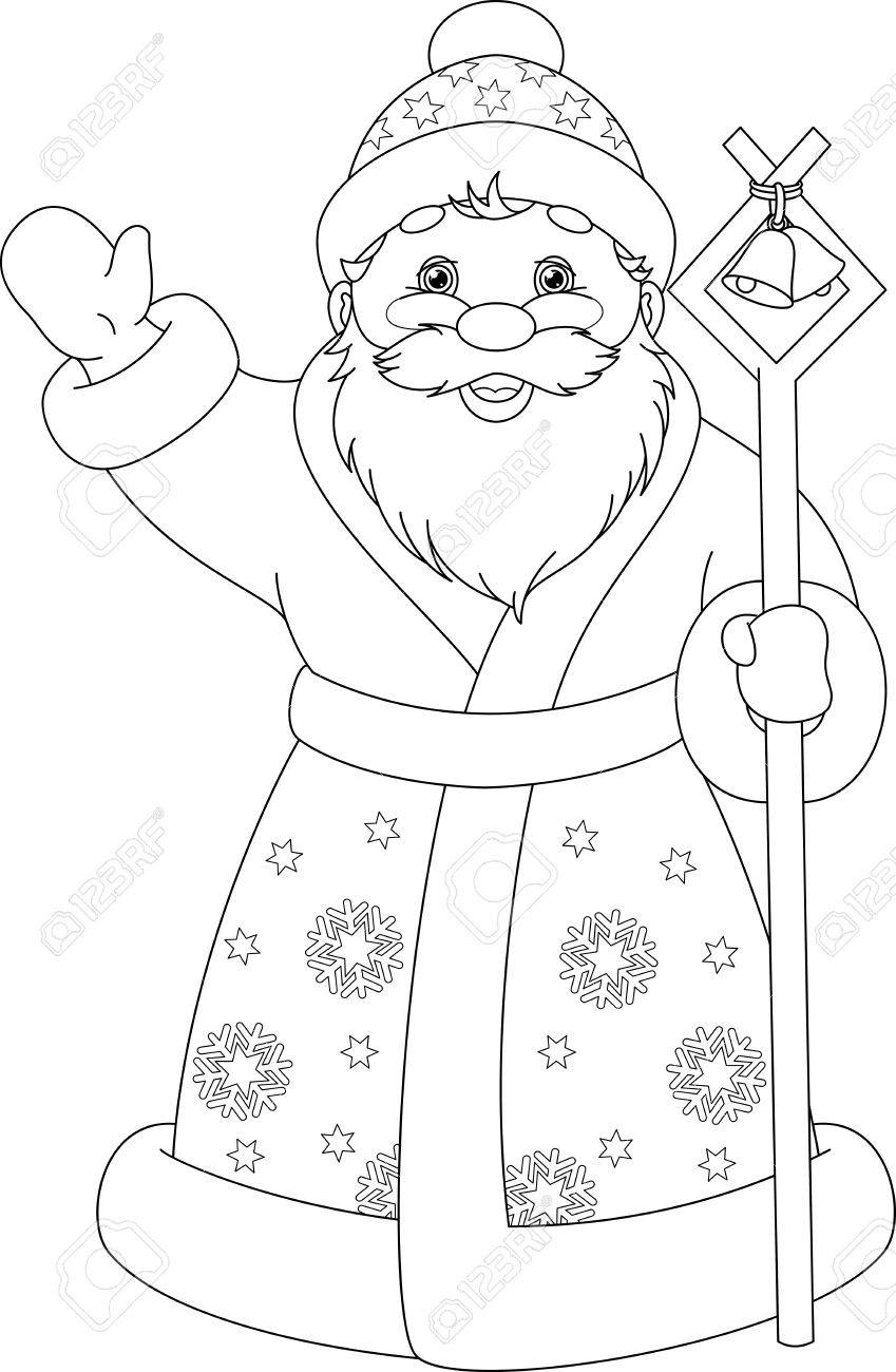 santa claus coloring page stock vector 68889988