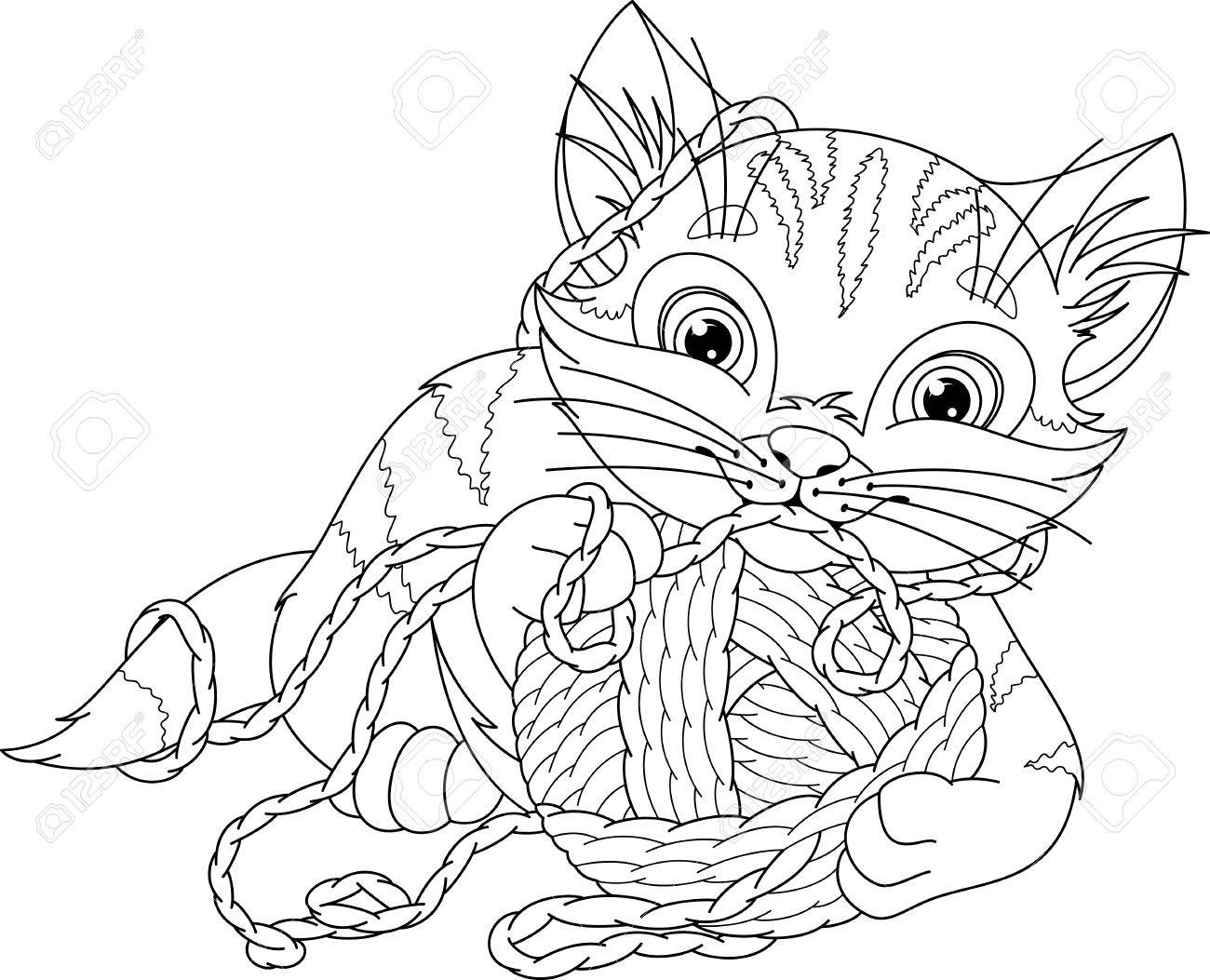 Kitten Playing With A Ball, Coloring Page Royalty Free Cliparts ...