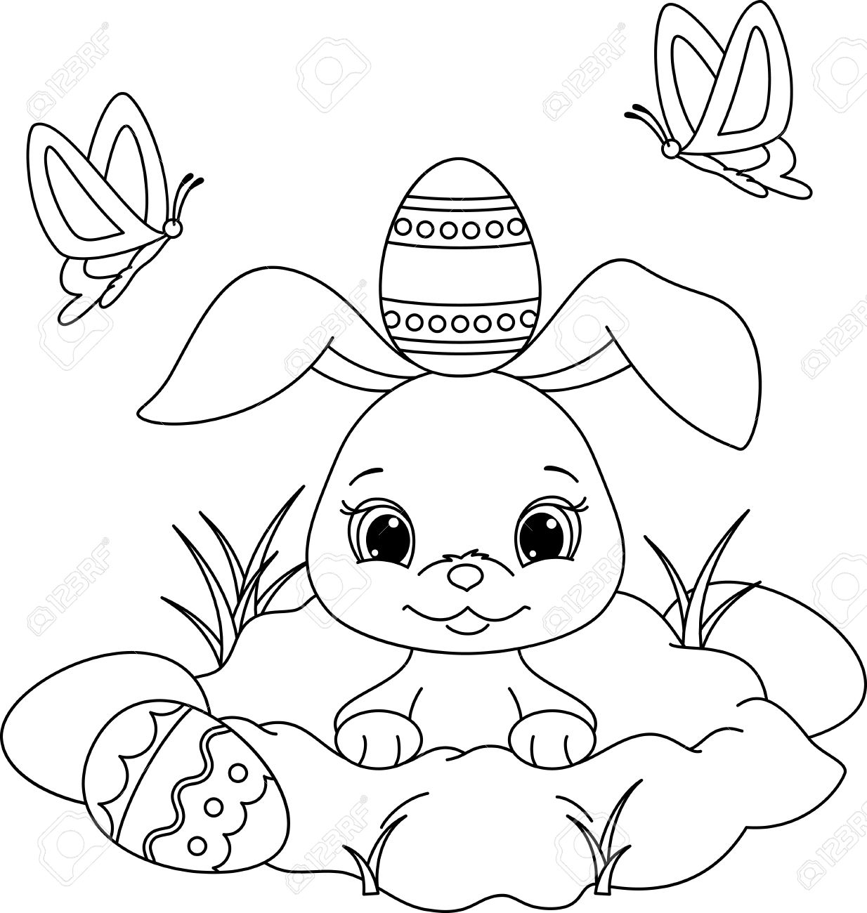 Easter Bunny Peeking Out Of A Hole. Coloring Page Royalty Free ...