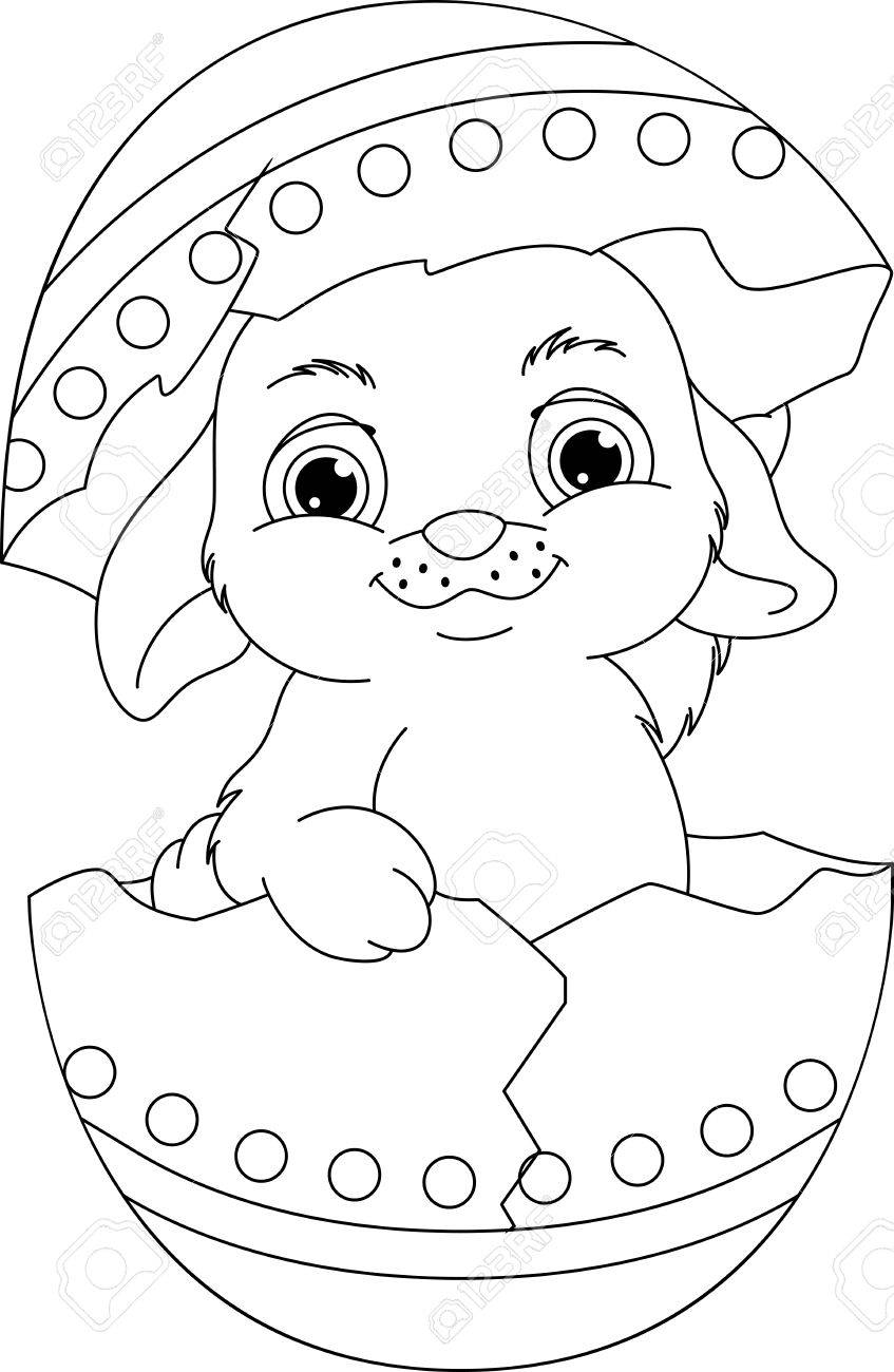 Easter Rabbit Coloring Page Royalty Free Cliparts Vectors And