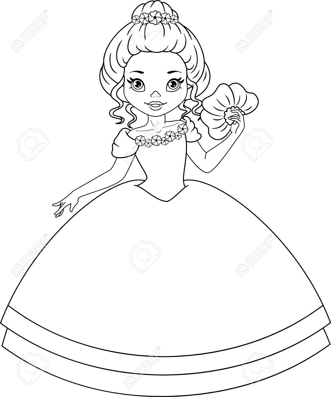 Princess Violet Coloring Page Royalty Free Klipartlar Vektör