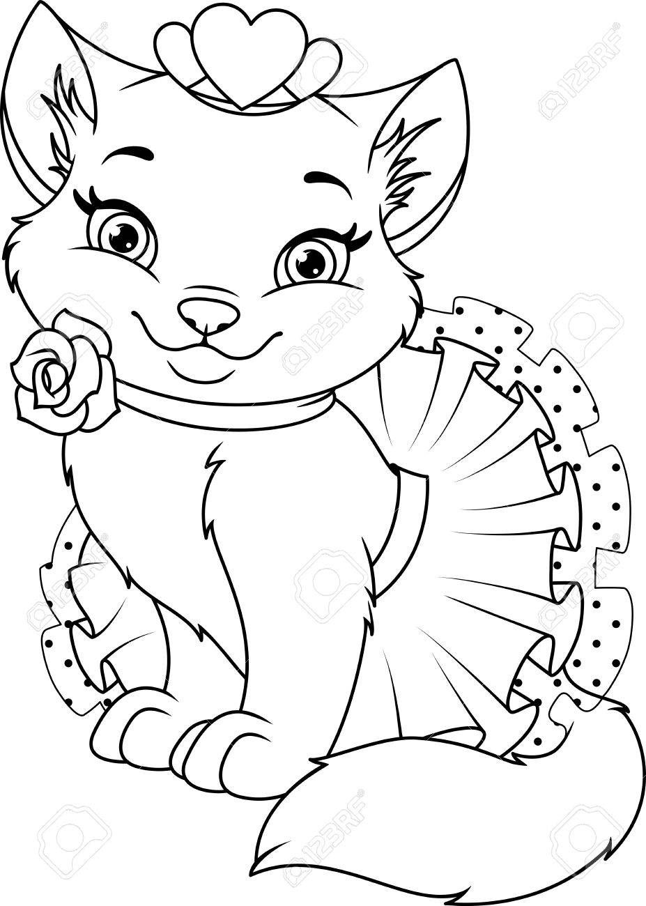 cat princess coloring page royalty free cliparts vectors and stock