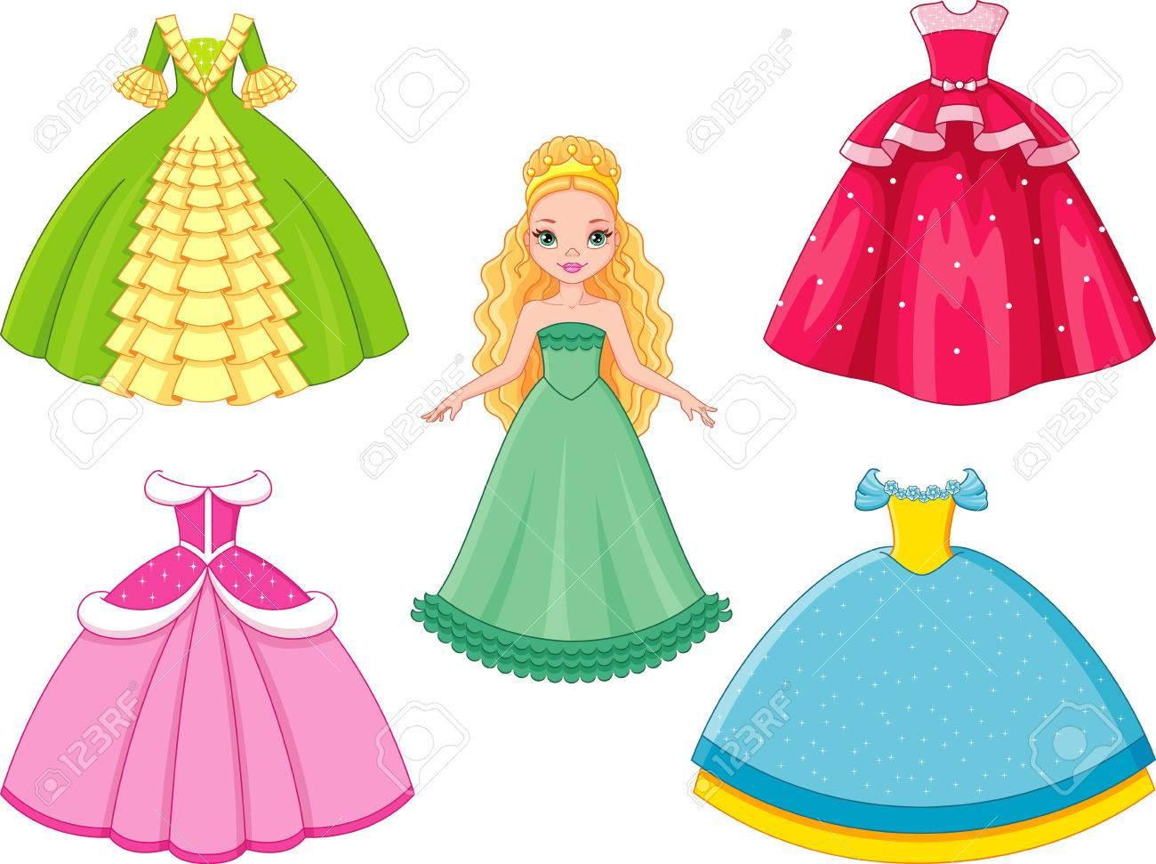 プリンセス ドレス イラスト , ぬりえキッズ