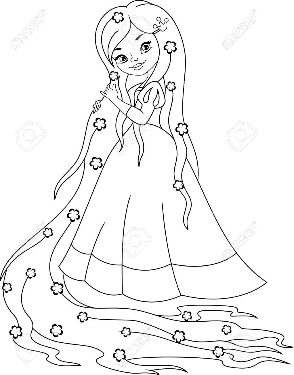 Princess Rapunzel Coloring Page Royalty Free Cliparts Vectors And