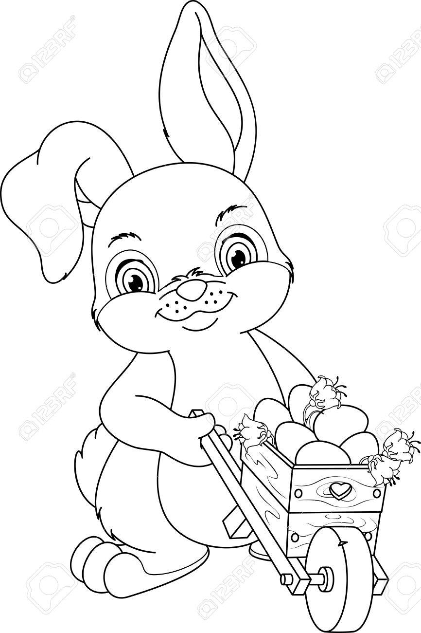 Rabbit Wheeling A Wheelbarrow With Easter Eggs, Coloring Page ...