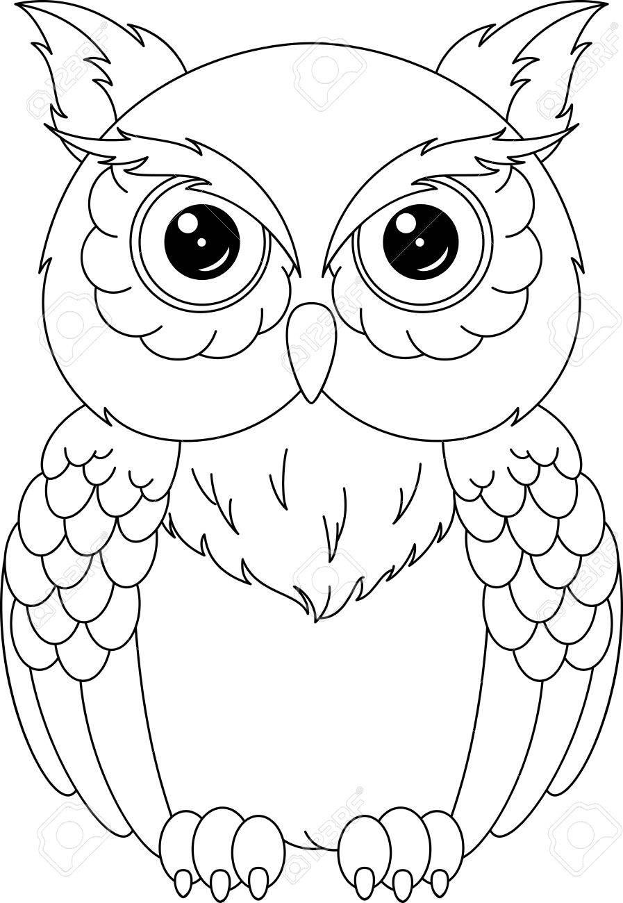 Página Para Colorear De Búho Ilustraciones Vectoriales, Clip Art ...