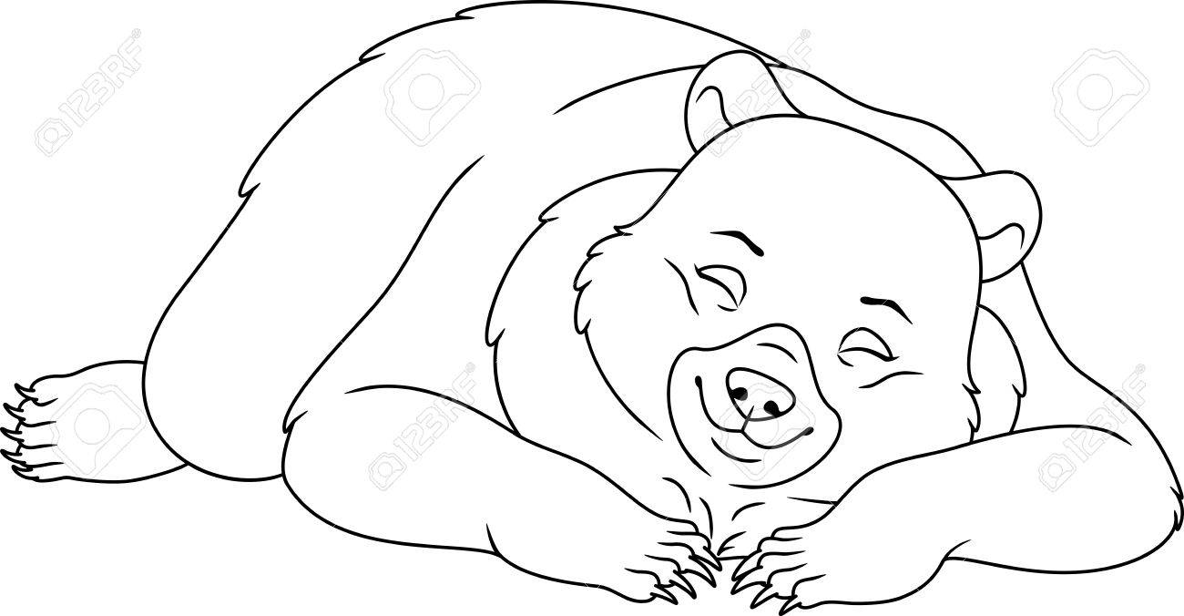 sleeping bear coloring page stock vector 82071857