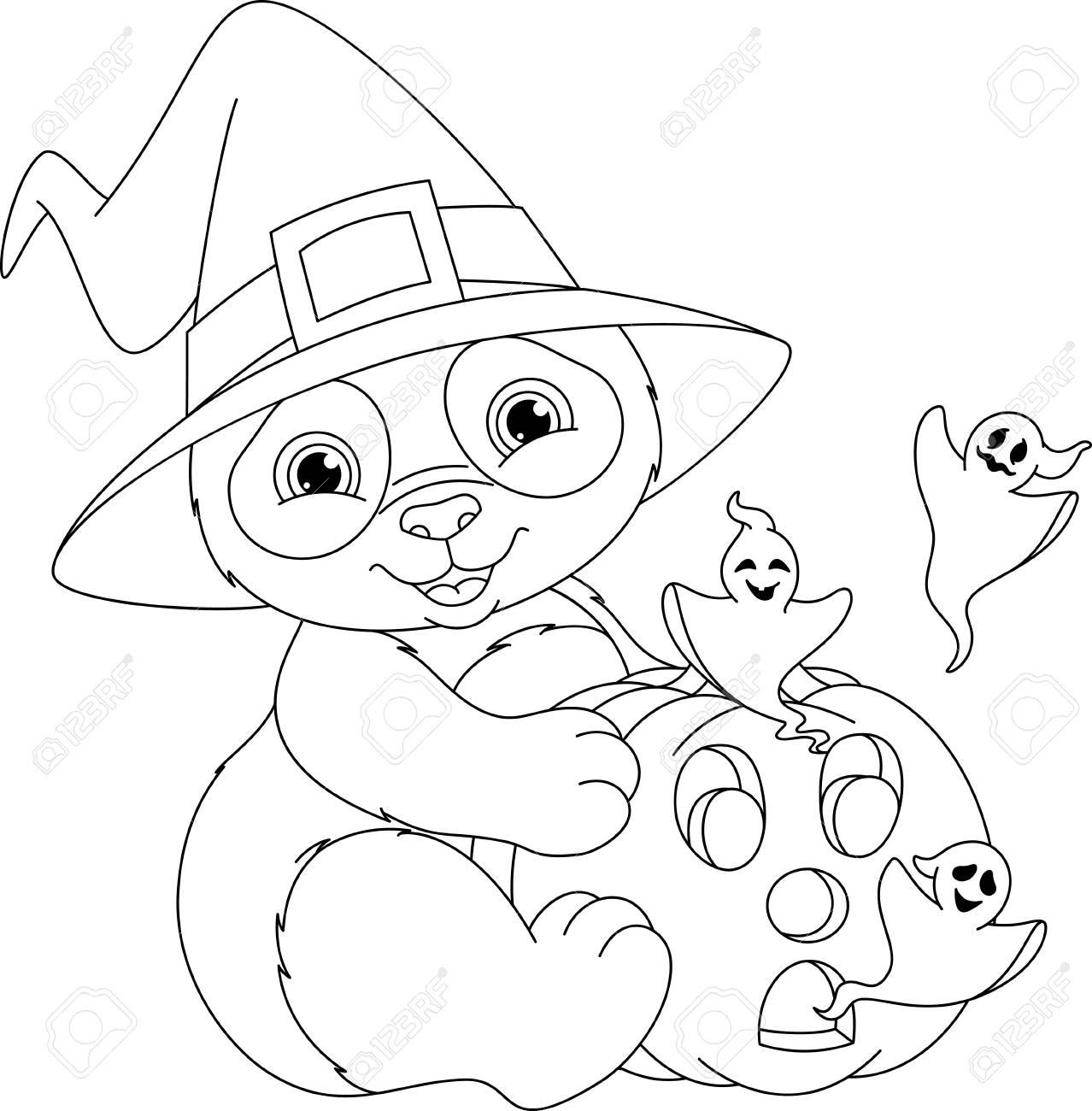 Colorear Halloween Página Para Colorear Ilustraciones Vectoriales ...