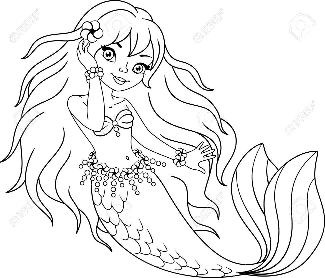 小さな人魚の女の子ぬりえページのイラスト素材ベクタ Image 84439061